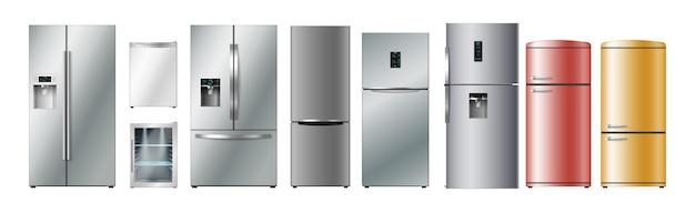 Zestaw realistycznych lodówek o różnej wielkości, stylu i kolorze. kolekcja lodówek 3d. domowe zamrażarki kuchenne do przechowywania produktów i żywności. ilustracja wektorowa