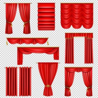 Zestaw realistycznych luksusowych czerwonych drapowanych zasłon