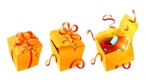 Zestaw realistycznych luksusowych pudełek na prezent