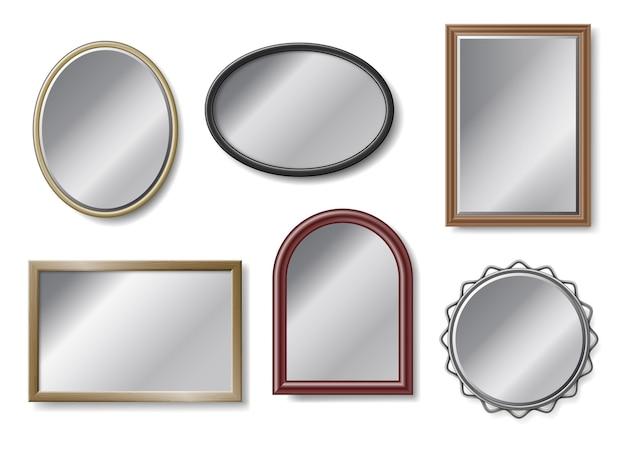 Zestaw realistycznych luster 3d w różnych ramkach na białym tle