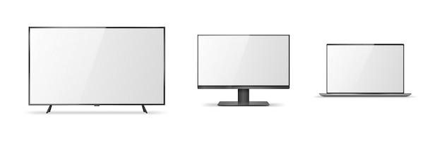 Zestaw realistycznych makiet urządzeń. komputer, laptop, monitor i telewizor lcd na białym tle. nowoczesne szablony gadżetów elektronicznych i monitorów. ilustracja wektorowa