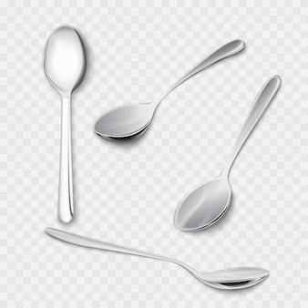 Zestaw realistycznych metalowych łyżek z różnych punktów widzenia. realizm 3d. łyżeczka ilustracja na białym tle.