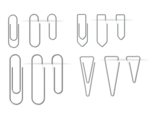 Zestaw realistycznych metalowych srebrnych spinaczy do papieru