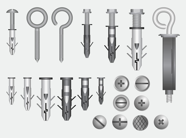 Zestaw realistycznych metalowych śrub ze stali nierdzewnej wektor eps