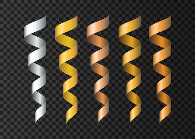Zestaw realistycznych miedzianych wstążek serpentynowych