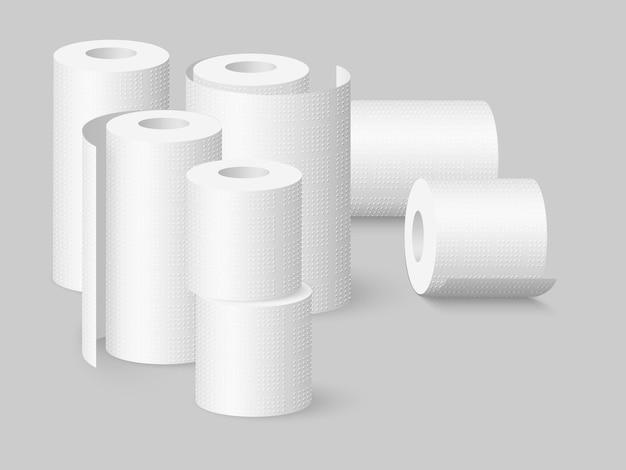 Zestaw realistycznych miękkich ręczników kuchennych i rolek papieru toaletowego. ilustracja na białym tle.