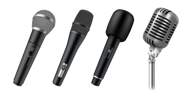 Zestaw realistycznych mikrofonów do sceny, wokalu, karaoke lub wystąpień publicznych na białym tle. nowoczesny i zabytkowy sprzęt audio. 3d ilustracji wektorowych