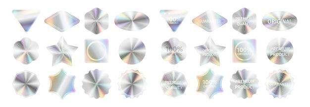 Zestaw realistycznych naklejek holograficznych i oficjalnych pieczęci. etykiety z certyfikatem jakości i znakami niezawodności dla oficjalnych produktów. ilustracja wektorowa szablonu