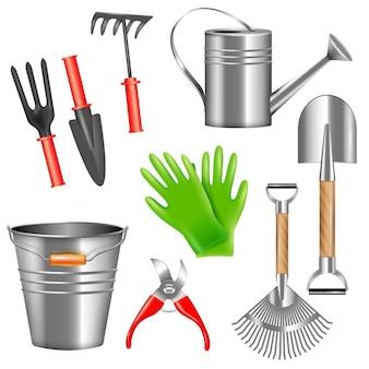 Zestaw realistycznych narzędzi ogrodowych