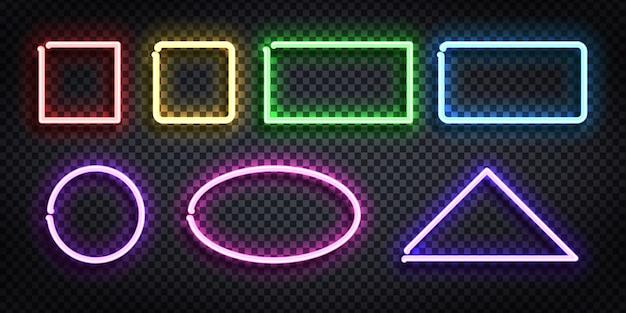 Zestaw realistycznych neonów ramki o innym kształcie i kolorze dla szablonu i układu na przezroczystym tle.