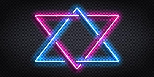 Zestaw realistycznych neonów z trójkątną ramką dla szablonu i układu.