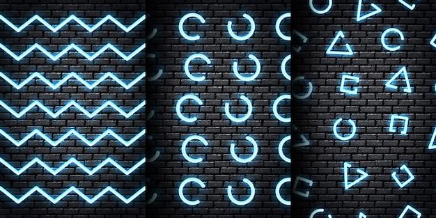 Zestaw realistycznych neonowych wzorów bez szwu z niebieskimi kolorami dla szablonu i układu na tle ściany.