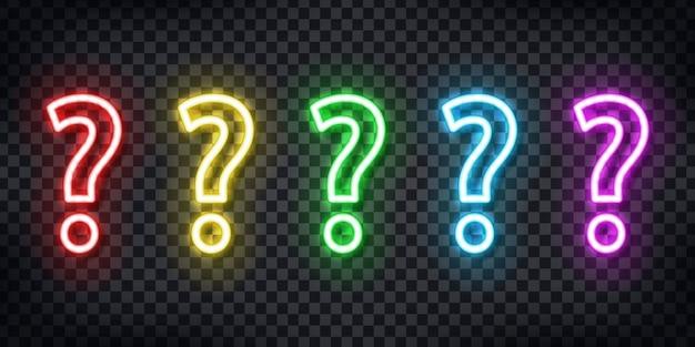 Zestaw realistycznych neonowych znaków logo pytanie do dekoracji szablonu i pokrycia układu na przezroczystym tle. koncepcja quizu i faq.