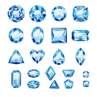 Zestaw realistycznych niebieskich klejnotów. kolorowe kamienie szlachetne. szafiry na białym tle.