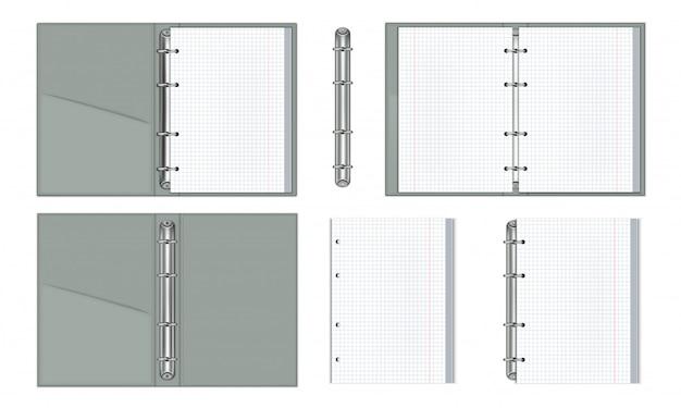 Zestaw realistycznych notebooków z papierowymi pierścieniami wiążącymi