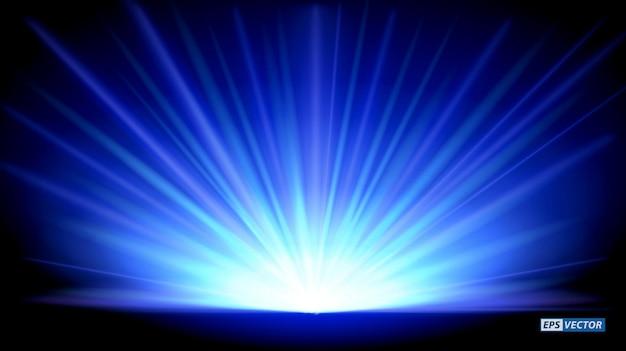 Zestaw realistycznych noworocznych niebieskich promieni wznoszących się na białym tle lub niebieskiego magicznego efektu światła słonecznego