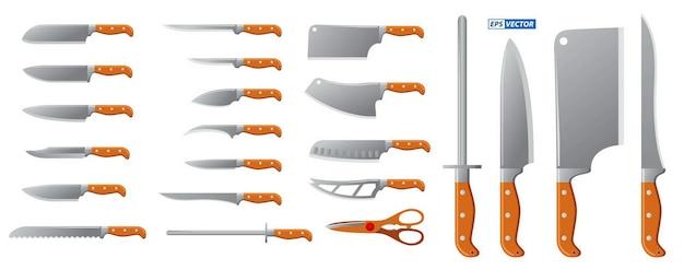 Zestaw realistycznych noży rzeźnika mięsa na białym tle lub sprzętu do gotowania lub ostrych stalowych noży kuchennych dla szefa kuchni. wektor eps