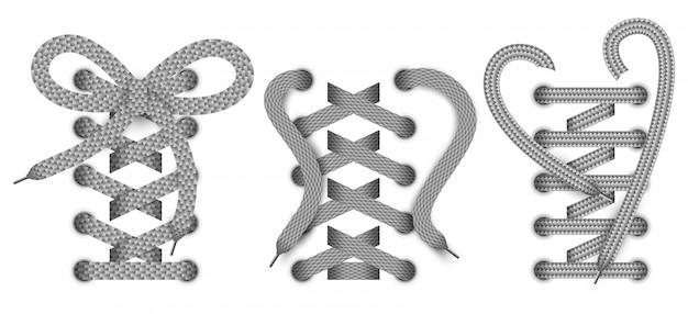 Zestaw realistycznych obiektów koronki, elementów odzieży lub obuwia.