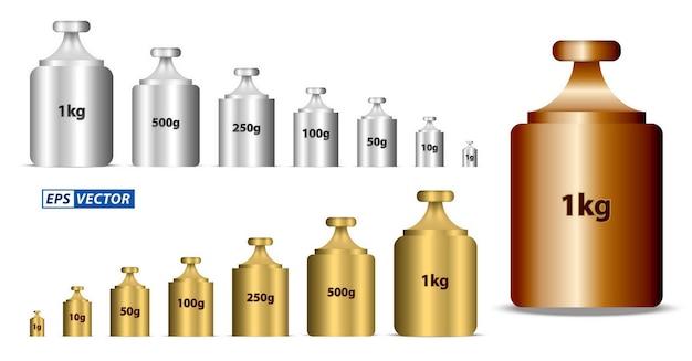 Zestaw realistycznych odważników kalibracyjnych izolowanych lub kalibrujących w stylu złotym i srebrnym