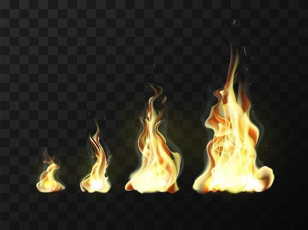Zestaw realistycznych ognistych płomieni.