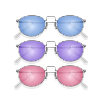 Zestaw realistycznych okularów przeciwsłonecznych z kolorowymi oprawkami