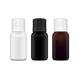 Zestaw realistycznych olejków eterycznych w białej, brązowej, czarnej szklanej butelce. butelka kosmetyczna lub medyczna fiolka, kolba, ilustracja flakonu
