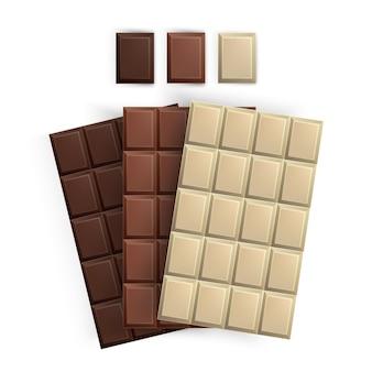 Zestaw realistycznych opakowań batoników czekoladowych, batony na białym tle, mleczne, białe i czarne czekolady