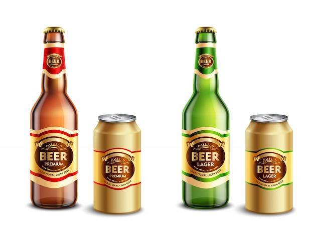 Zestaw realistycznych opakowań piwa
