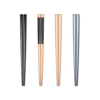 Zestaw realistycznych pałeczek. element chopstick tradycyjna kultura azjatycka lub orientalna. na białym tle