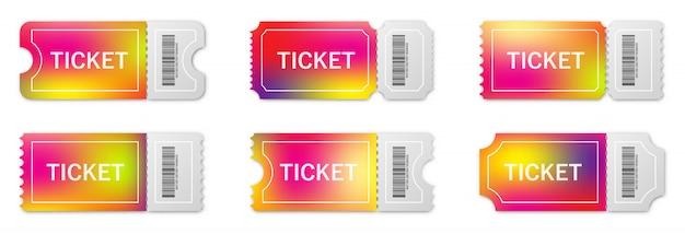Zestaw realistycznych papierowych biletów z cieniem.