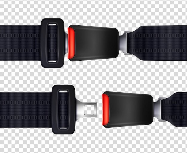 Zestaw realistycznych pasów bezpieczeństwa z metalowym zapięciem i czarną teksturowaną ilustracją paska