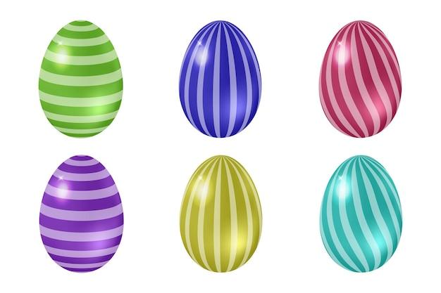 Zestaw realistycznych pisanek, jasnych kolorowych jaj z ornamentem w paski. 3d błyszczące elementy do świątecznej dekoracji