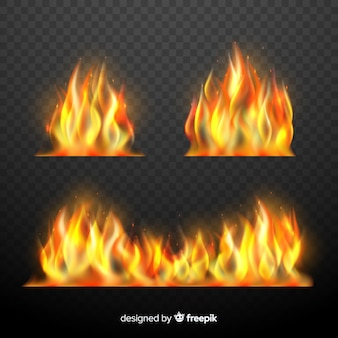 Zestaw realistycznych płomieni ognia