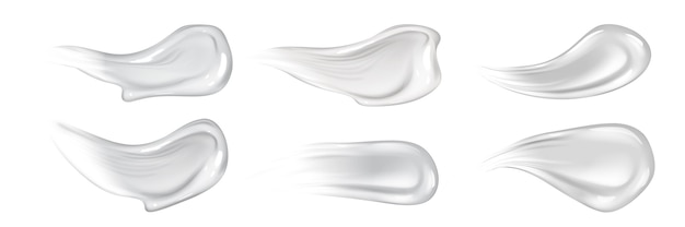 Zestaw realistycznych pociągnięć kremem do skóry. kolekcja rysowanych w stylu realizmu białych płynnych naturalnych korektorów lub balsamów przeciwsłonecznych