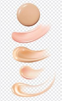 Zestaw realistycznych pociągnięć pędzla do smarowania podkładu skóry