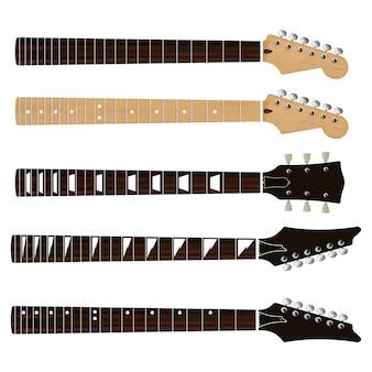 Zestaw realistycznych podstrunnic i gryfów z gitarą elektryczną