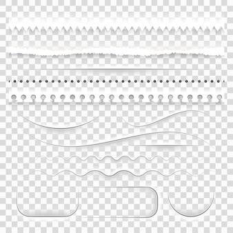 Zestaw realistycznych, półprzezroczystych, białych, ozdobnych przekładek z papieru, z cieniami przyciętymi podartymi poszarpanymi krawędziami.
