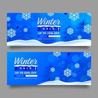 Zestaw realistycznych poziomych banerów sprzedaży zimowej
