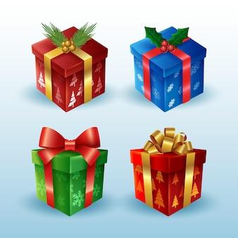 Zestaw realistycznych prezentów świątecznych