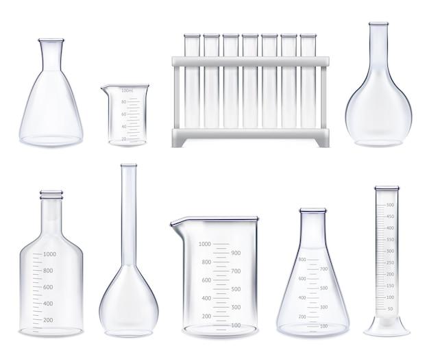 Zestaw realistycznych probówek i szklanych słoików o różnych kształtach z ilustracją na białym tle skali pomiarowej