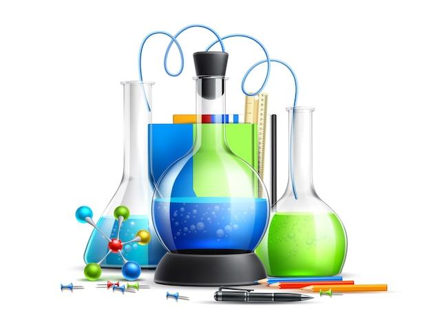 Zestaw realistycznych probówek laboratoryjnych do chemii