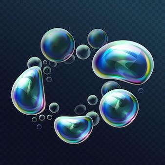 Zestaw realistycznych przezroczystych kolorowych baniek mydlanych w deformacji. kule wodne z powietrzem, balony z mydłem, piana, mydliny, mydliny. błyszczące kulki piankowe z jasnym refleksem. ilustracja.