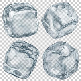Zestaw realistycznych przezroczystych kostek lodu w kolorze szarym na przezroczystym tle. przezroczystość tylko w formacie wektorowym