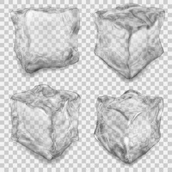 Zestaw realistycznych przezroczystych kostek lodu w szarych kolorach z cieniami na przezroczystym.