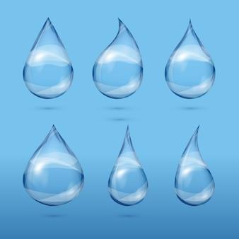 Zestaw realistycznych przezroczystych kropli wody