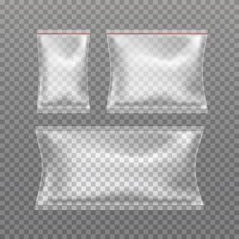 Zestaw realistycznych przezroczystych toreb na poduszki na białym tle