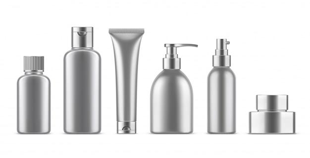 Zestaw realistycznych pustych butelek kosmetycznych.