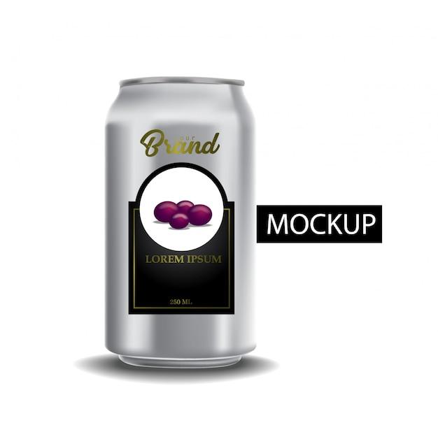 Zestaw realistycznych puszek metalowych na piwo lub napój bezalkoholowy.