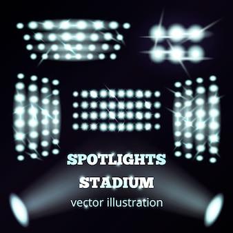 Zestaw realistycznych reflektorów stadionowych