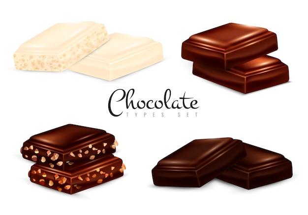 Zestaw realistycznych rodzajów czekolady